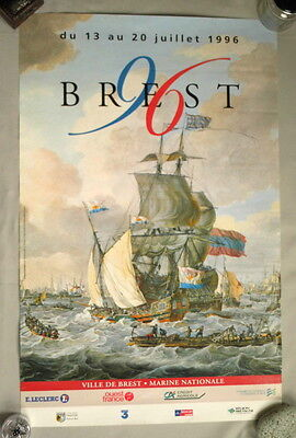 Classic Boat Poster, Brest 96 Festival, classic boat sailing ships, tall ship