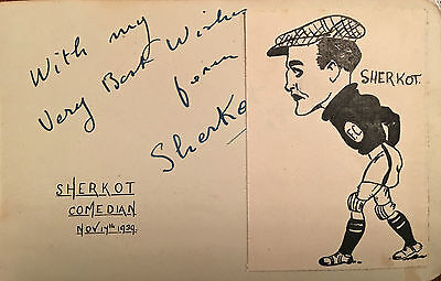 A Very Rare Autograph Of 'Shercot' Silent Comedian ,football Comic