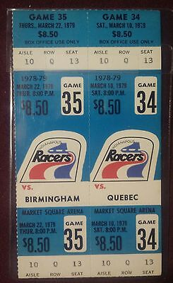 2 Indianapolis Racers Un-used Un-cut WHA Game Tickets March 10 & 22 1979