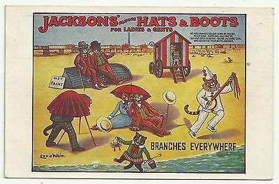 Art postcard Comic Artist Louis Wain Cats Cat Advertising Jacksons Hats & Boots