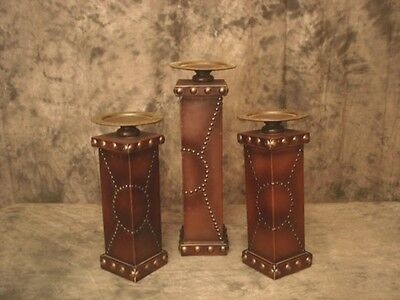 Pillar Candle Holders CBK Set of 3 Square Shape Brown Color Leather & Tacks