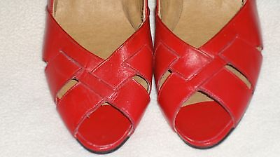 Vintage Red Peep-Toe Pumps Open-Toe Heels 80's Shoes Size 8.5