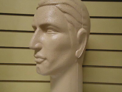 "Two (2) #626CCCS 16""H Color-Coated tm Stylized MALE Mannequin Heads-Light-Skin"