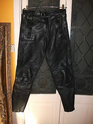 Men's black leather motorbike trousers size S by Pace