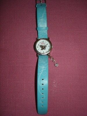 Girls Watch Bfly Butterfly Blue Leather Band Stainless Steel EUC