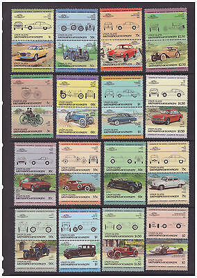 Grenadines of St Vincent Union Island 1985 Cars Motoring Art 3 full mint sets