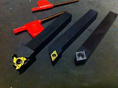 """NEW 1/2"""" Shank Lathe Cutting Tool Set Different Style Carbide Inserts & Wrenches"""