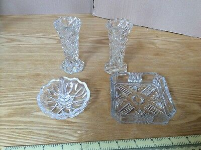 Two Glass Vases, Ring Holder And Tray