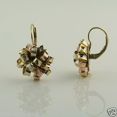 Earrings in 14K 3-Tone White Yellow Rose Solid Gold Ribbon Bow Design