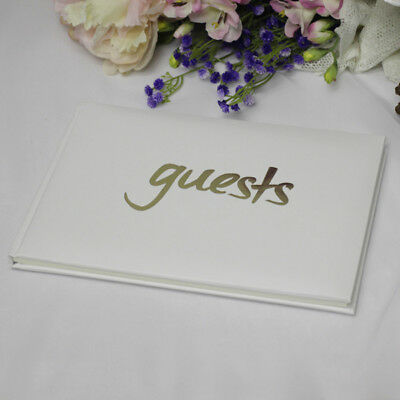 White & Gold Guest Book - All Occasions - Wedding, Engagement, Gift, Keepsake