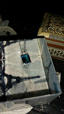 9ct 375 White Gold, Diamond and London Blue Topaz Pendant Necklace