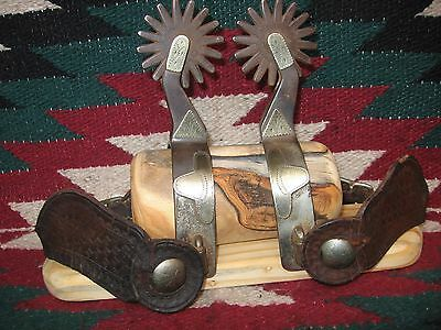 Extra Fine & Rare Crockett Texas Style Silver Mounted Red River Spurs & Straps
