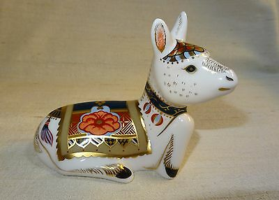 Royal Crown Derby Paperweight model of the Donkey Foal, gold stopper
