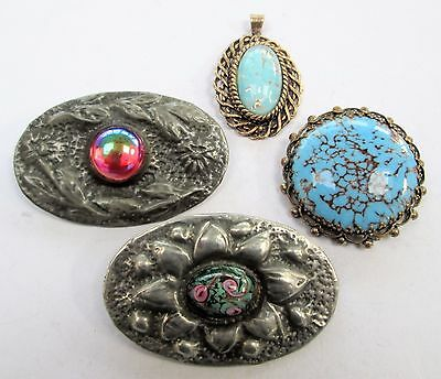 Three gorgeous large vintage brooches + pendant (turquoise glass, silver metal)