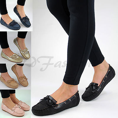 Womens New Flat Loafers Casual Comfort Work Slip On Bow Pumps Shoes Sizes 3-8