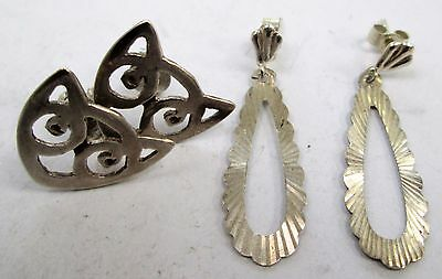Two pairs good quality vintage sterling silver earrings (cats etc)