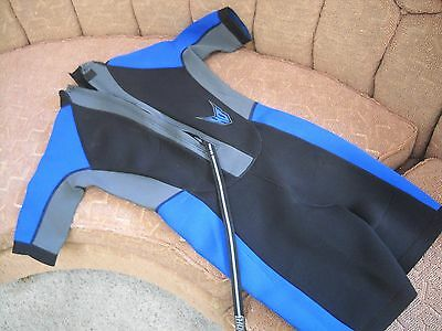 Youth Black & Blue Shorty One Piece Swim Wetsuit by HO Sports Size Junior 14 NEW