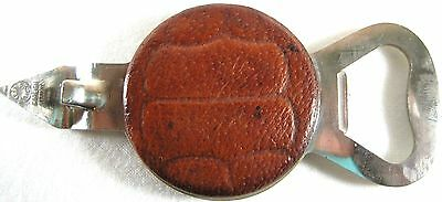 Can Punch Bottle Opener Vtg Leather Stainless Steel.  QQQ 29