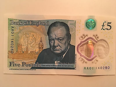 5 Pound Note Very Very Low Number Starting AA01