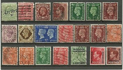 GB Great Britain used lot/collection 1904-50 Morocco Agencies