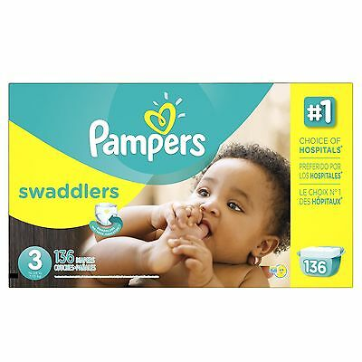 Pampers Swaddlers Diapers Size 3 Economy Pack 136 Count- Packaging May Vary