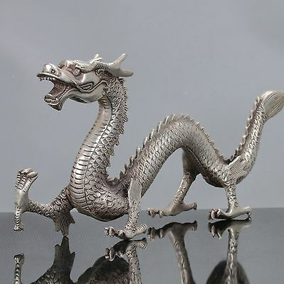Old Chinese Cupronickel Handwork Chinese Dragon Statue