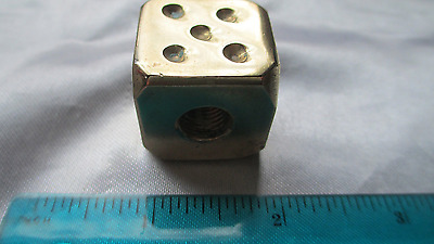BRASS DICE  3/8-24 Shift Knob Fits Harley-Indian-Jeep-Chevy-Plymouth/Gift Bag