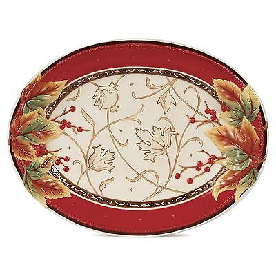 Fitz & Floyd Bountiful Holiday Collection Serving Platter Red/White