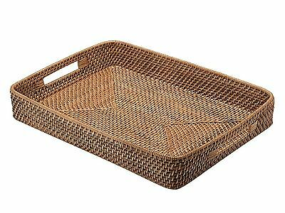KOUBOO Rattan Serving Tray with Cut-Out Handles Honey Brown