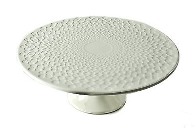 Classic Coffee & Tea Clover Leaf Footed Cake Platter 20cm White