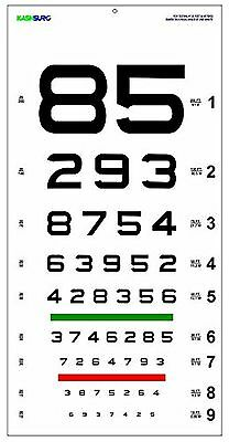 Snellen Eye Chart NUMBER with Red/Green Lines 20 Ft