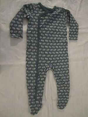 tea collection baby pajamas sleeper blue gray elephants Size 6-12 Months Cotton