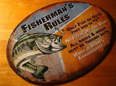 FISHERMAN RULES NO PEEIN' OFF THE BOAT Rustic Fishing Cabin Sign Home Decor NEW
