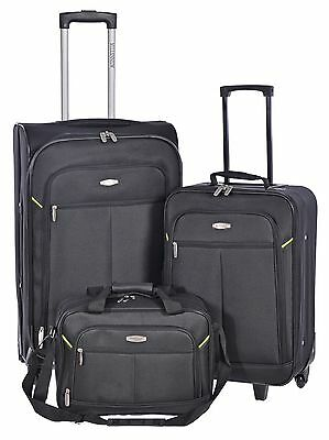 Millenium Black 3 Piece Luggage Set - Checked & Carry On Suitcases with Tote ...