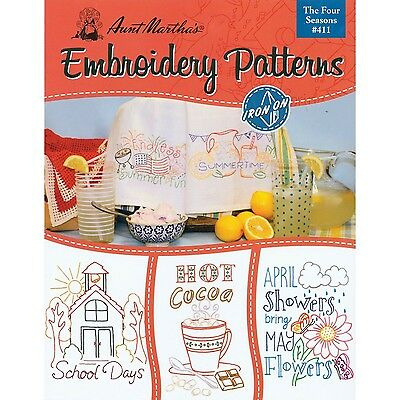 AUNT MARTHA's Four Seasons Embroidery Transfer Pattern Book Kit