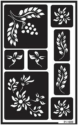 Armour Etch 21-1609 Over N Over Stencil Berry Floral