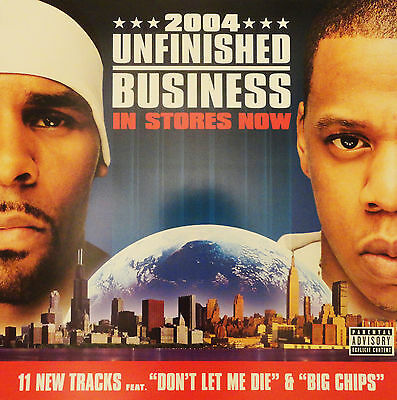 """Original R. KELLY / JAY-Z """"Unfinished Business"""" 24"""" x 24"""" Street Poster RARE"""
