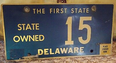 """State of DELAWARE """"state owned"""" License Plate - 2-Digits - LOW NUMBER #15"""