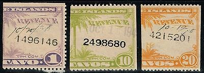 Philippines 3 Revenue Stamps Used - Lot 080215
