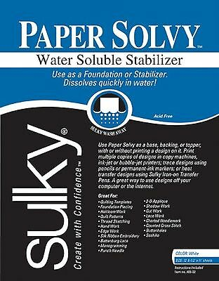 Sulky 409-2 Card Stock Paper Solvy Water Soluble Fabric Stabilizer 8-1/2 by 1...