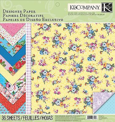 K & Company  12-Inch by 12-Inch Designer Paper Pad Bloomscape