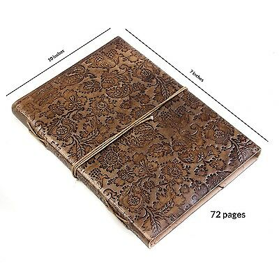Store Indya Leather Diary Journal Planner Embossed with Floral Hardbound Cove...