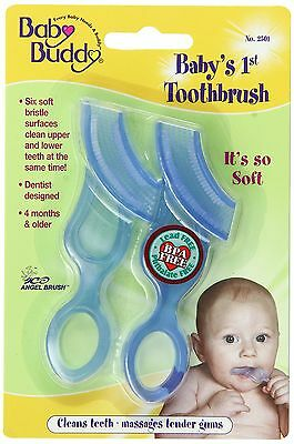 Baby Buddy 2-Count Baby's First Toothbrush Blue 2-Pack