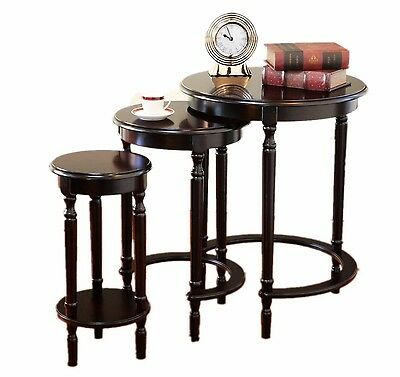 Frenchi Home Furnishing Round Nesting Table 3-Piece Cherry