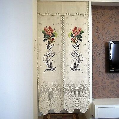 Elegant Lace Japanese Noren Peony and Orchid Printing Door Curtain