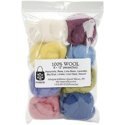 WISTYRIA EDITIONS 0.25-Ounce Wool Roving 12-Inch Muted 8-Pack
