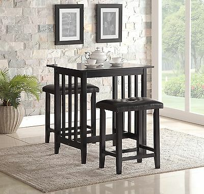 Roundhill 3-Piece Counter Height Dining Set with Saddleback Stools Black