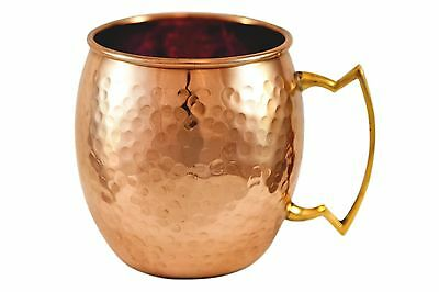 Hammered Pure Copper Moscow Mule Mug with brass handle made by Alchemade