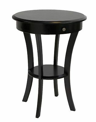 Frenchi Home Furnishing Wood Round Table with Drawer and Shelf Espresso