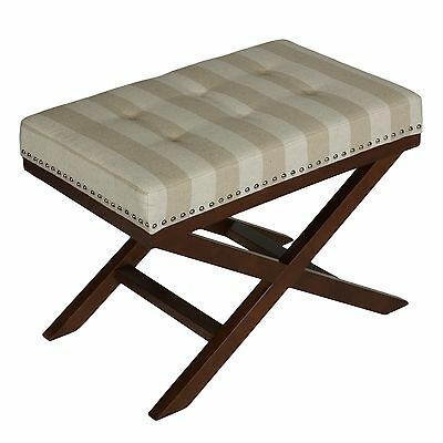 Cortesi Home Kayla Traditional X Bench Ottoman in Linen with Nail Head Trim S...